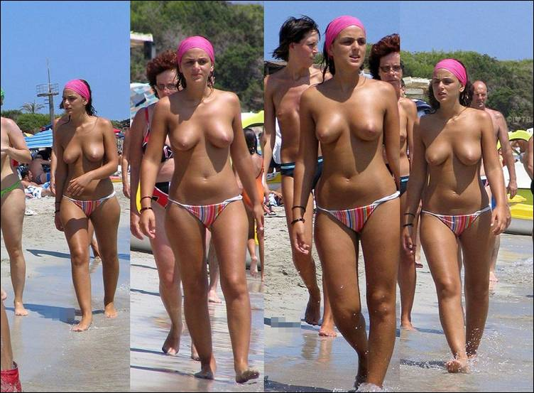 куча голых на пляже